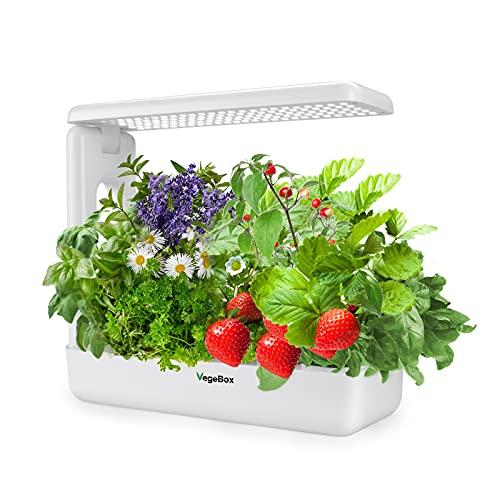 Vegebox 12 Pods Hydroponics Growing System - Indoor Herb Garden, Kitchen Smart Garden Planter, LED Grow Light with Plant Germination Kits(White)