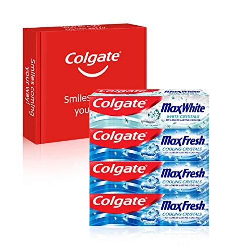 Colgate Kit Max Fresh y Max White, Pasta de Dientes, Pack 3 Uds Max Fresh x 75ml + 1 Ud Max White x 75ml