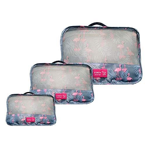 Kit 3 Necessaire Organizador Bagagem Mala Viagem Flamingo YS27065