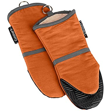 Cuisinart Oven Mitt with Non-Slip Silicone Grip, Heat Resistant to 500° F, Rust Orange, 2-Pack