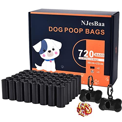Sacchetti Cane, 720 Pezzi/48 Rotoli Sacchetti igienici per Cani con 2 Dispensers 1 Palla Giocattolo, Extra Spesso a Prova di perdite Sacchetti per Cani