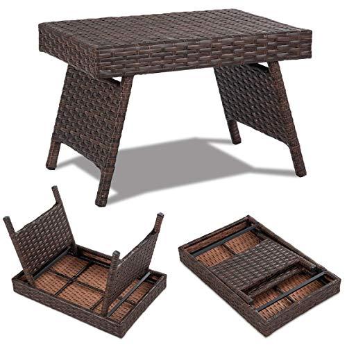 HFRR Mesa de mimbre plegable para interiores y exteriores, metal premium y polietileno impermeable, diseño portátil para ahorrar espacio, mesa auxiliar de ratán de café independiente, color marrón