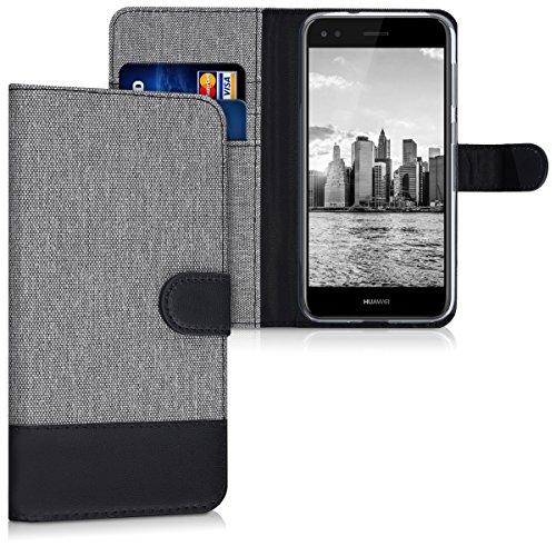 kwmobile Wallet Hülle kompatibel mit Huawei Y6 Pro (2017) / Enjoy 7 - Hülle mit Ständer - Handyhülle Kartenfächer Grau Schwarz