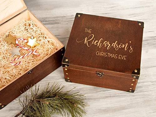 Custom Wooden Gift Box Family Christmas Eve box Personalized Memory Box Large Storage Box Christmas Gift Box for Family Engraved Wood Box