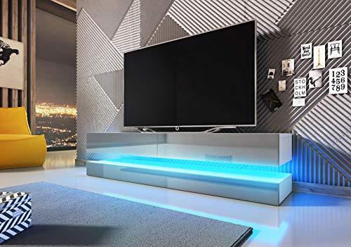 VIVALDI Mueble para TV - FLY - 140 cm - Blanco Mate con Gris Brillante con iluminación LED Azul - Estilo Design