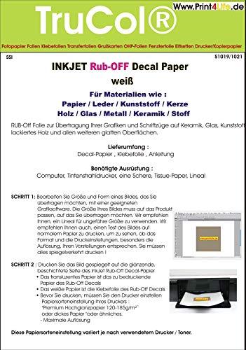 Inkjet Decal papiertransfer folie DIN A4 transparant + wit voor inkjetprinter voor papier/leer/kunststof/kaars/hout/glas/metaal/keramiek/stof – (droog transfer) Weiss