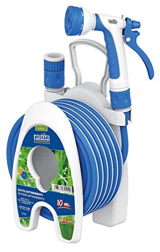 Aqua Control C2102 Set de Riego para Patios y Terrazas, Manguera + Carrito Portamanguera, Azul, Diámetro de 8 mm