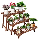 COOGOU Wood Plant Stand Indoor Outdoor 3 Tiered Corner Plant Shelf for Large Plants Rack Ladder Step Flower Pot Stand Holder for Patio Garden Balcony Yard (3 Pcs/Set,Tall,Small,Heavy Duty)