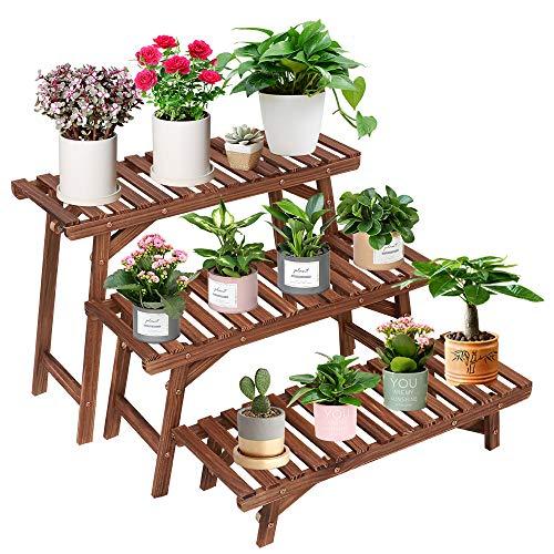 Wood Plant Stand Indoor Outdoor 3 Tiered Corner Plant Shelf Rack Ladder Step Flower Pot Stand Holder...