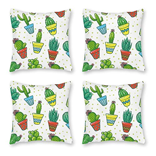 None-brands Pillow Covers Throw Cushion Cover Look Decorative Pillowcases For Sofa 18 X 18 Inch Set Of 4 No Pillow Insert Cactus Tropical Garden Plant Green Pattern