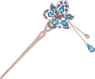 Beaupretty - Bacchette per capelli in metallo, con cristalli cinesi giapponesi, stile vintage, stile retrò