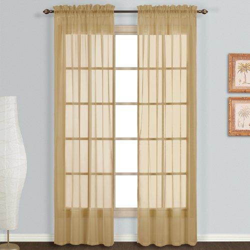 United Curtain Monte Carlo Sheer Window Curtain Panel, 118da 274,3cm, Bronzo, Confezione da 2
