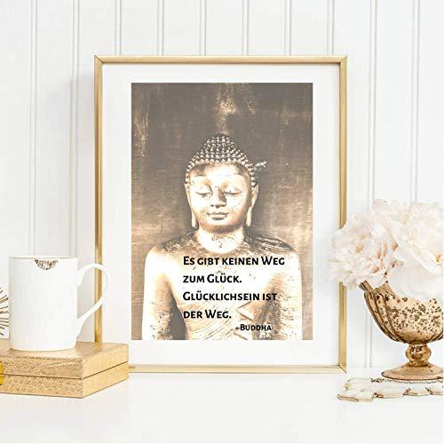 Kunstdruck ungerahmt Din A4 Buddha Zitat - Glücklichsein ist der Weg - Spruch, Typographie, Siddharta Zen Meditation Yoga Fotokunst Motivation, Druck, Bild, Poster