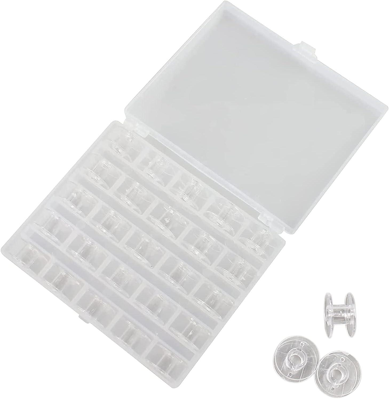 Zeayebsr Bobinas Para Máquinas De Coser Plásticos Carretes De Máquinas De Coser Canillas Carretes de Máquinas de Coser de Plástico Transparente 25 piezas bobinas transparentes