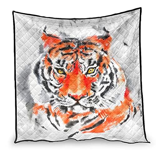 Zhouwonder Colcha de cama edredón tinta tigre durable bebé manta para todas las estaciones blanco 100x150cm