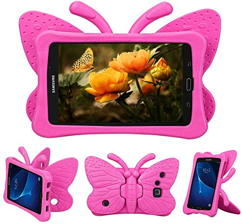 Kids Case for Samsung Galaxy Tab A 7.0, Kids Children Butterfly Shockproof EVA Foam Full Protection Stand Cover for Samsung Galaxy Tab A 7 Inch SM-T280 T285 Tablet (Rose Pink)