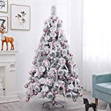 <span class='highlight'><span class='highlight'>GYC</span></span> Snow Flocked Artificial Christmas Pine Tree,6ft Pre-Lit Premium PVC Pine Needle Xmas Tree With Metal Stand & LED Lights & Ornaments -white fence 6ft