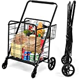Goplus Folding Shopping Cart, Jumbo Double Basket Utility Grocery Cart 330lbs Capacity with 360° Rolling Swivel Wheels,Portable Heavy Duty Cart for Laundry Shopping Grocery (Black)
