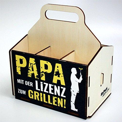 Bierträger aus Holz - Sixpack Männer (Papa mit der Lizenz zum Grillen), Bier, Grillzubehör, 50. Geburtstag, 40. Geburtstag, 60. Geburtstag, Grillparty
