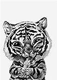 UIOLK Arte Divertido Lienzo Imagen Mural Lindo Dibujos Animados Tigre Animal Emoji Paquete nórdico Blanco y Negro boceto Lienzo decoración del hogar póster Mural