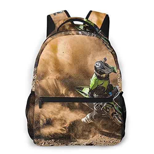 Motocross Dirt Bike Backpack for Boys Girls Men, Travel Laptop Casual College Daypack Back to School Bag