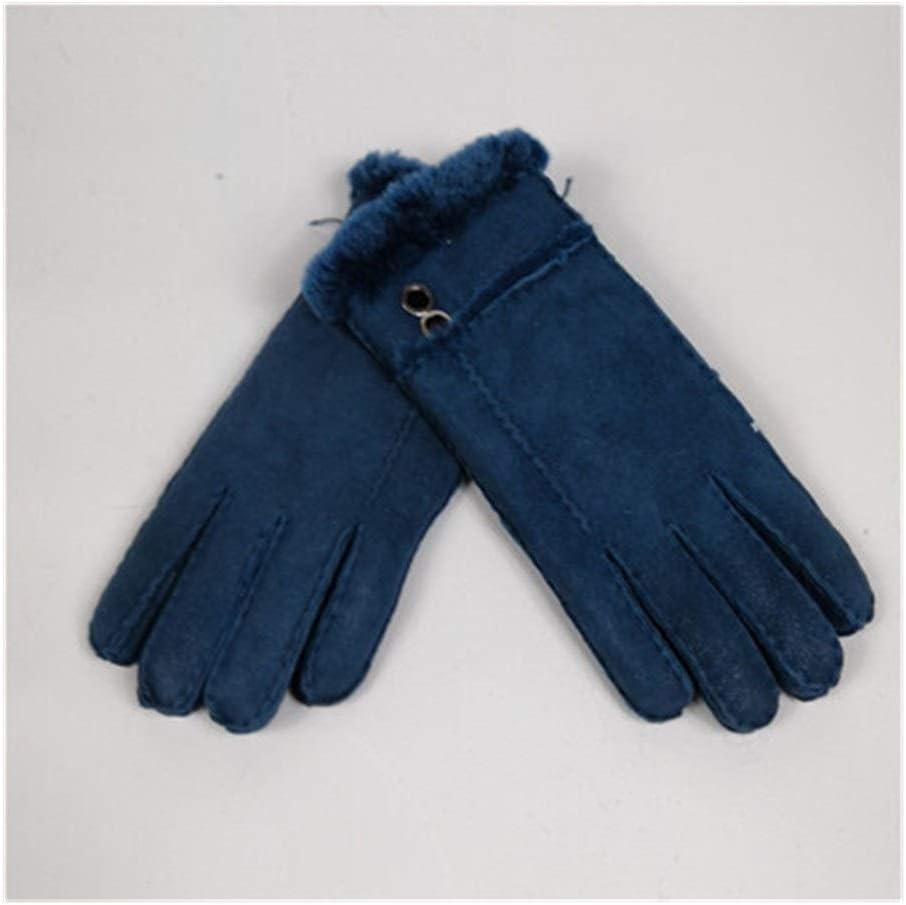 Autumn and Winter Gloves For Women Mittens Sheepskin Solid Women Woolen Cashmere Winter Glove Sheep Fur Mittens Elegant Warm Women Gloves Real Fur Gloves Warm and Comfortable Gloves ( Color : Blue )