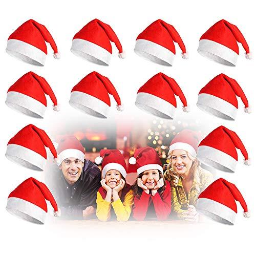 Ginfonr Confezione da 12 Cappelli da Babbo Natale in Tessuto Non Tessuto Unisex Cappello Rosso di Natale Cappellino da Babbo Natale per Adulti Bambini Inverno Capodanno Festive Forniture per Feste