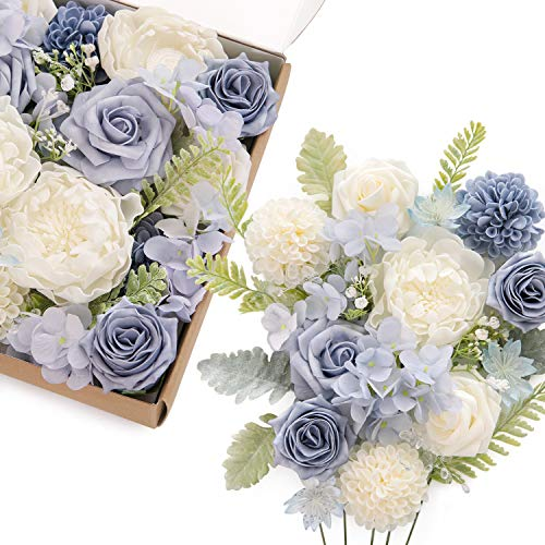 Ling's moment Artificial Elegant Dusty Blue Rose Flowers Box Sets