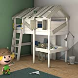 WICKEY Children's Bed Crazy Island loft Bed with roof and slatted Bed Base