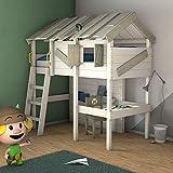 WICKEY Lit enfant CrAzY Island it mezzanine avec sommier à lattes, 90x200 cm