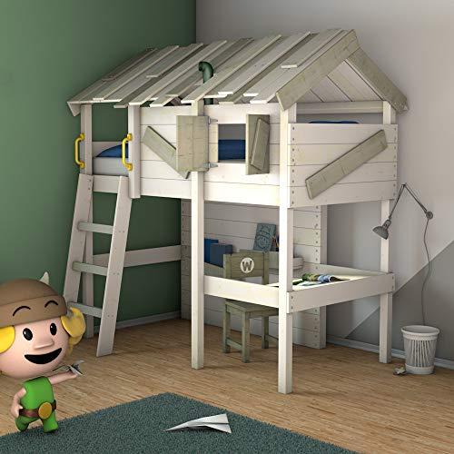 Cama para niños con escritorio WICKEY CrAzY Island 90 x 200 cm