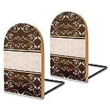 Sujetalibros de madera, 2 unidades, elegante marrón y caqui damasco mármol decorativo sujetalibros de madera para estantes resistentes para libros, archivos de oficina, revistas