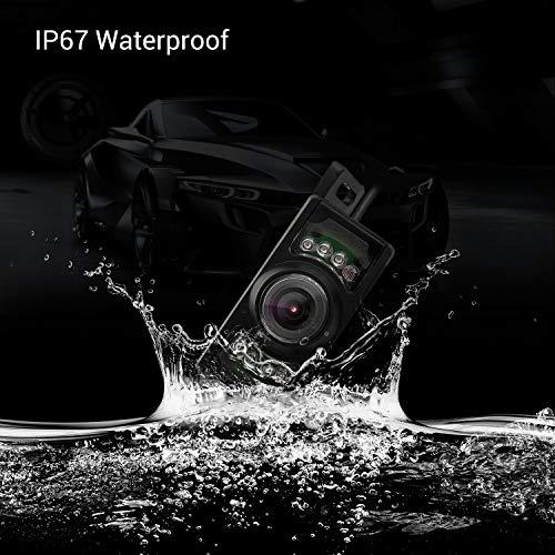 OKEU Caméra de Recul sans Fil Kit- Caméra de Recul avec 7 LED de Infrarouge Vision Nocturne, Caméra de Voiture Etanche IP67 avec 5 Pouce LCD Moniteur pour Car