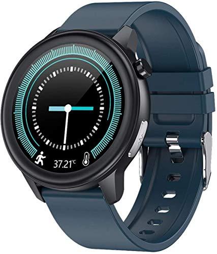 SHIJIAN Reloj inteligente de negocios 1.3 pulgadas pantalla a color Ip68 impermeable mensaje llamada recordatorio multifuncional pulsera deportiva desgaste diario pulsera azul