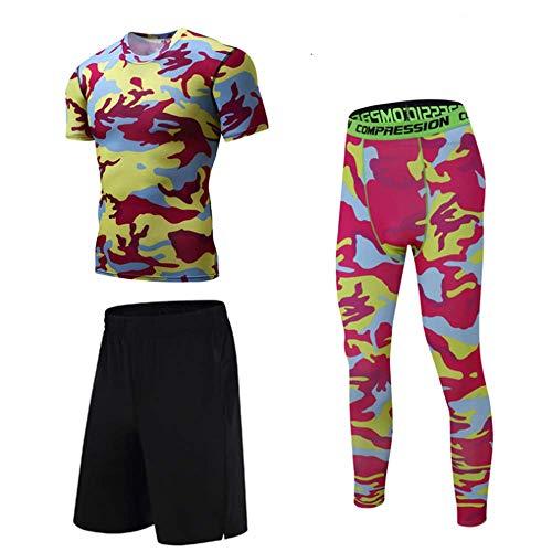 IDE Play Herren Compression Set, Quick Dry Unterwäsche Sport-T-Shirt, Turnhose für Radfahren Laufen, Base Layer Strumpfhosen mit locker sitzenden Shorts,Rot,XL