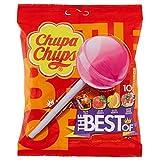 Chupa Chups Lecca Lecca The Best Of, Lollipop Frutti Assortiti Gusto Cola, Fragola, Arancia e Panna Fragola, senza Glutine, Busta da 10 Loll …