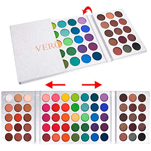 MOMSON Colorful Eyeshadow Makeup Palette – 65 Colors High Pigmented Matte Shimmer Glitter Eyeshadow Palette For Smoky Neutral Makeup(SILVER)