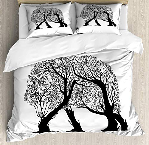 LREFON Lightweight Breathable Warm 3-Piece Bedding Set 86'X70' Branches Monochrome Graphic of Woods with Trees in Wind Nature Concept Twin Size Comforter