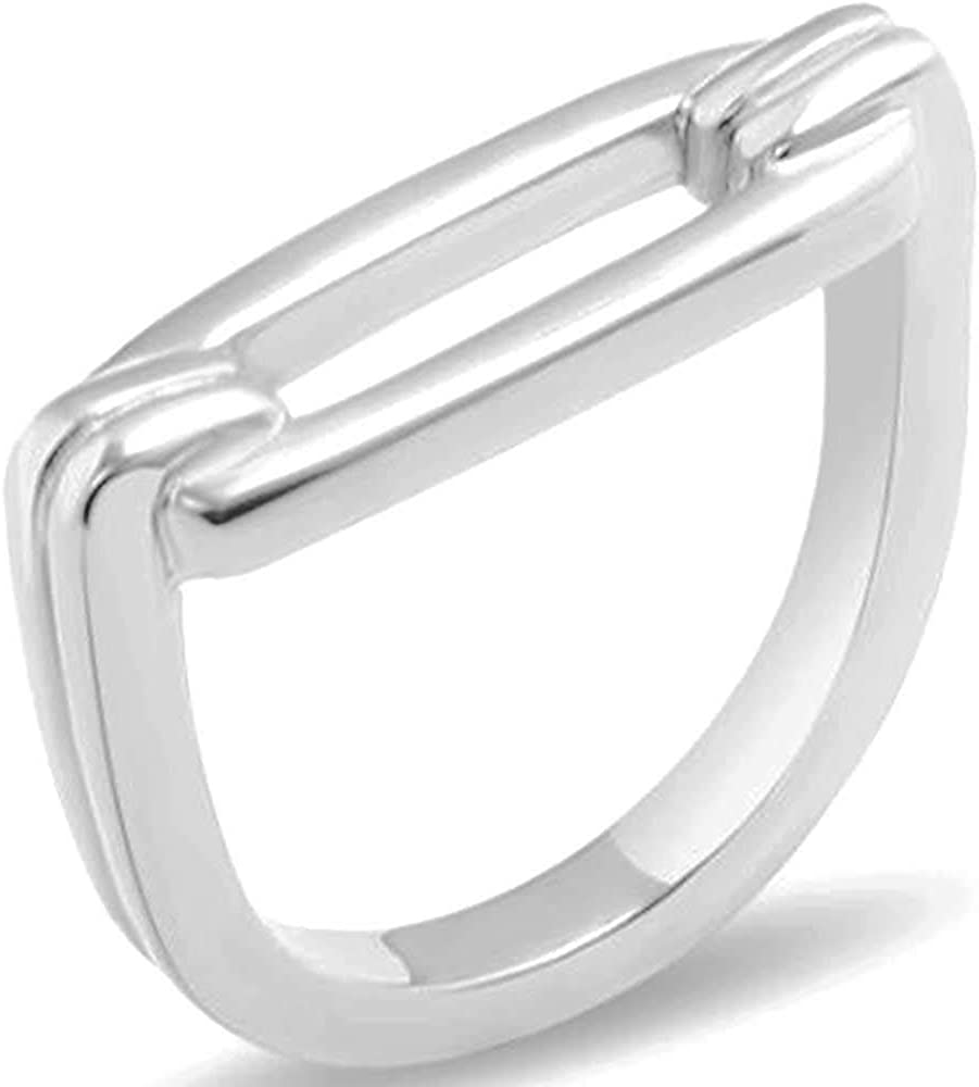 Jude Jewelers Stainless Steel D Shaped Plain Style Wedding Band Statement Anniversary Stacking Ring