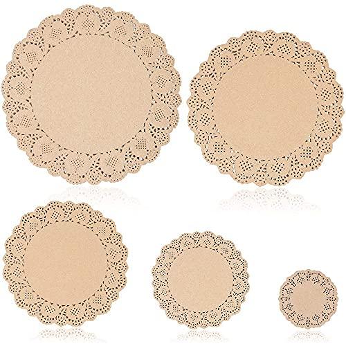 Runde Spitzendeckchen aus Papier (5 Größen, Braun, 250 Stück)