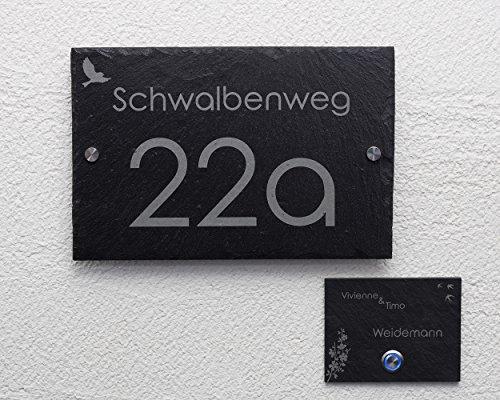 Huisnummerset met gravure/bel, leisteen belplaat met LED-knop