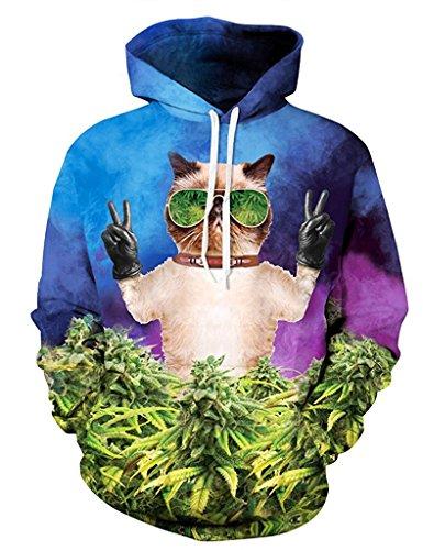 Minetom Damen Herren Mode 3D Digital Bedruckte Kapuzenpullover Unisex Lange Ärmel Pullover Sweatshirt Hoodies Tops Meow XL