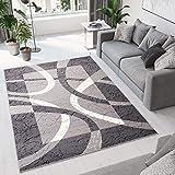 TAPISO Dream Alfombra Salón Comedor Dormitorio Moderno Gris Oscuro Blanco Bordura Olas Moteada Pelo Corto 80 x 150 cm