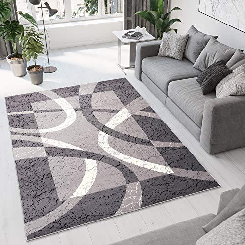 TAPISO Dream Tappeto Salotto Moderno Soggiorno Crema Grigio Astratto Cerchi Quadrato A Pelo Corto 140 x 200 cm