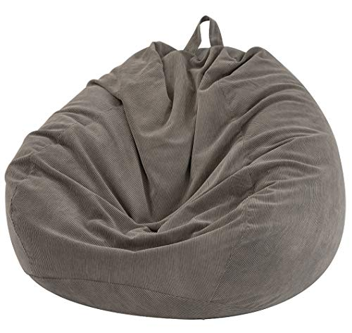 Nobildonna Stuffed Storage Bird's Nest Bean Bag Chair Cover (No Filler) for Kids and Adults. Extra Large Beanbag Stuffed Animal Storage or Memory Foam Soft Premium Corduroy (Warm Gray)