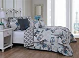Avondale Manor Cherie 4pc Parisian Reversible Quilt with Throw Pillows Bedding Set, Twin, Blue