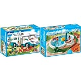Playmobil Family Fun 70088 Familien-Wohnmobil, Ab 4 Jahren & Family Fun 9422 Swimmingpool mit Pump-Dusche, Ab 4 Jahren