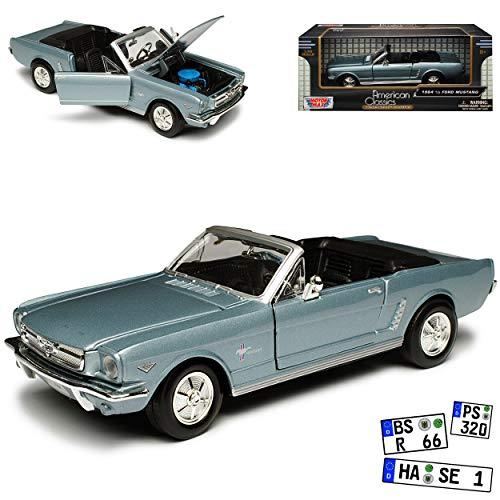bester der welt Ford Mustang Cabrio 1964 Blau Silber 1. Generation 1964 1/2 1/24 Motormax Modellauto Modellauto 2021