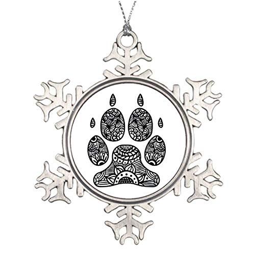 qidushop Weihnachts-Dekoration, Hundepfotenabdruck, Zentangle-Weihnachtsschmuck, Metall, Schneeflocke, Weihnachtsbaum, zum Aufhängen, Andenken, 7,6 cm