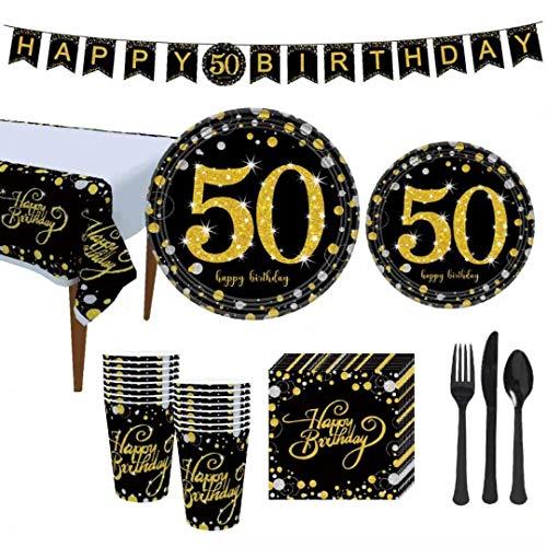 Juego de vajilla de cumpleaños y aniversario de boda, para fiestas de cumpleaños y boda, para servir a 19 invitados,tenedores, manteles, 50 cumpleaños o aniversario